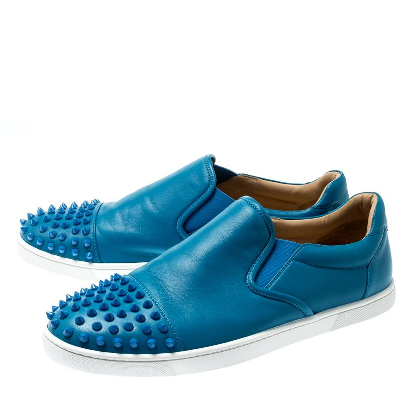 online retailer f152c 0d981 Christian Louboutin Blue Spike Leather Skate Slip On Sneakers Size 41