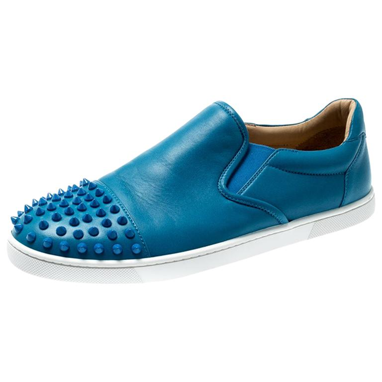 online retailer 8d187 2bf78 Christian Louboutin Blue Spike Leather Skate Slip On Sneakers Size 41