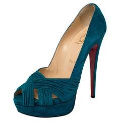 Christian Louboutin Blue Suede Aborina Peep Toe Platform Pumps Size 39.5
