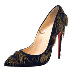 Christian Louboutin Blue Suede Chain Embellished Pointed Toe Pumps Size 38.5