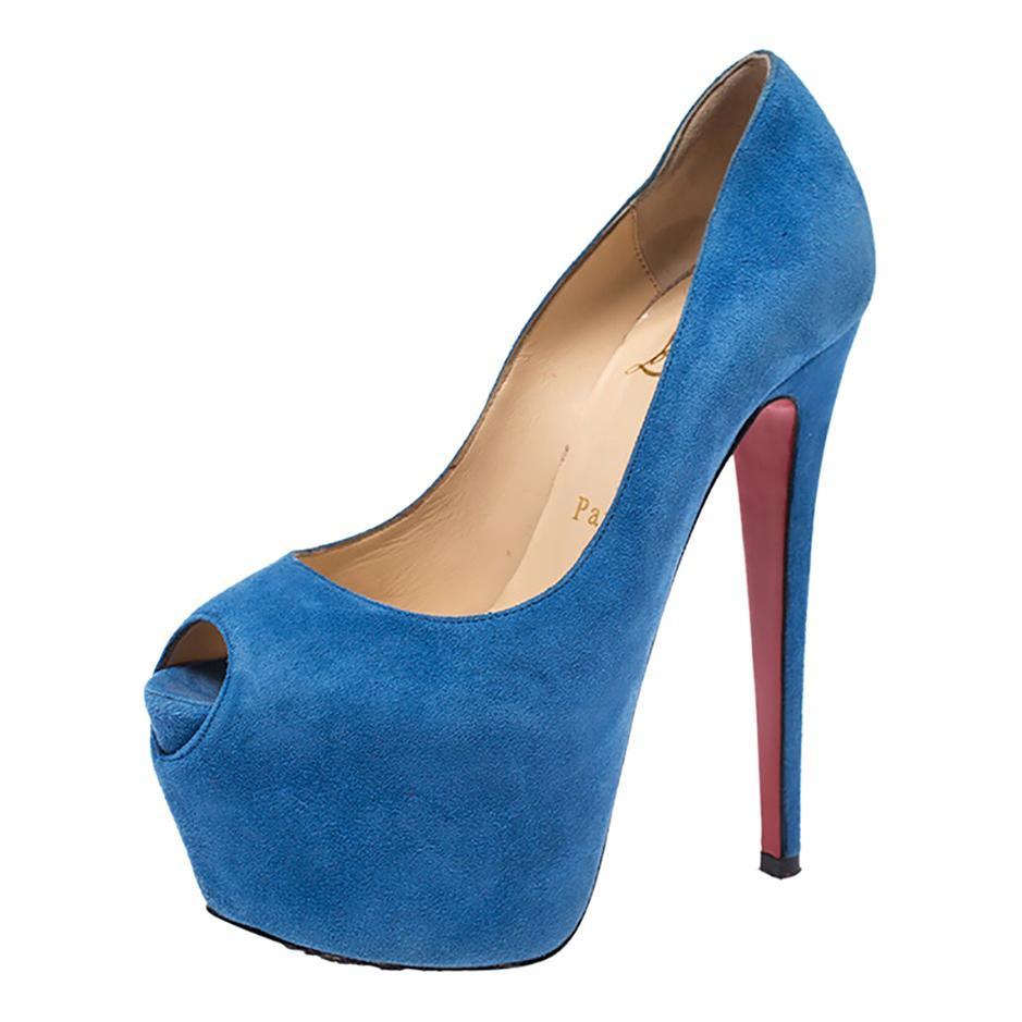 Christian Louboutin Blue Suede Daffodile Peep Toe Platform Pumps Size 35.5