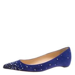 Christian Louboutin Blue Suede Gravitanita Crystal Embellished Pointed Toe Flats