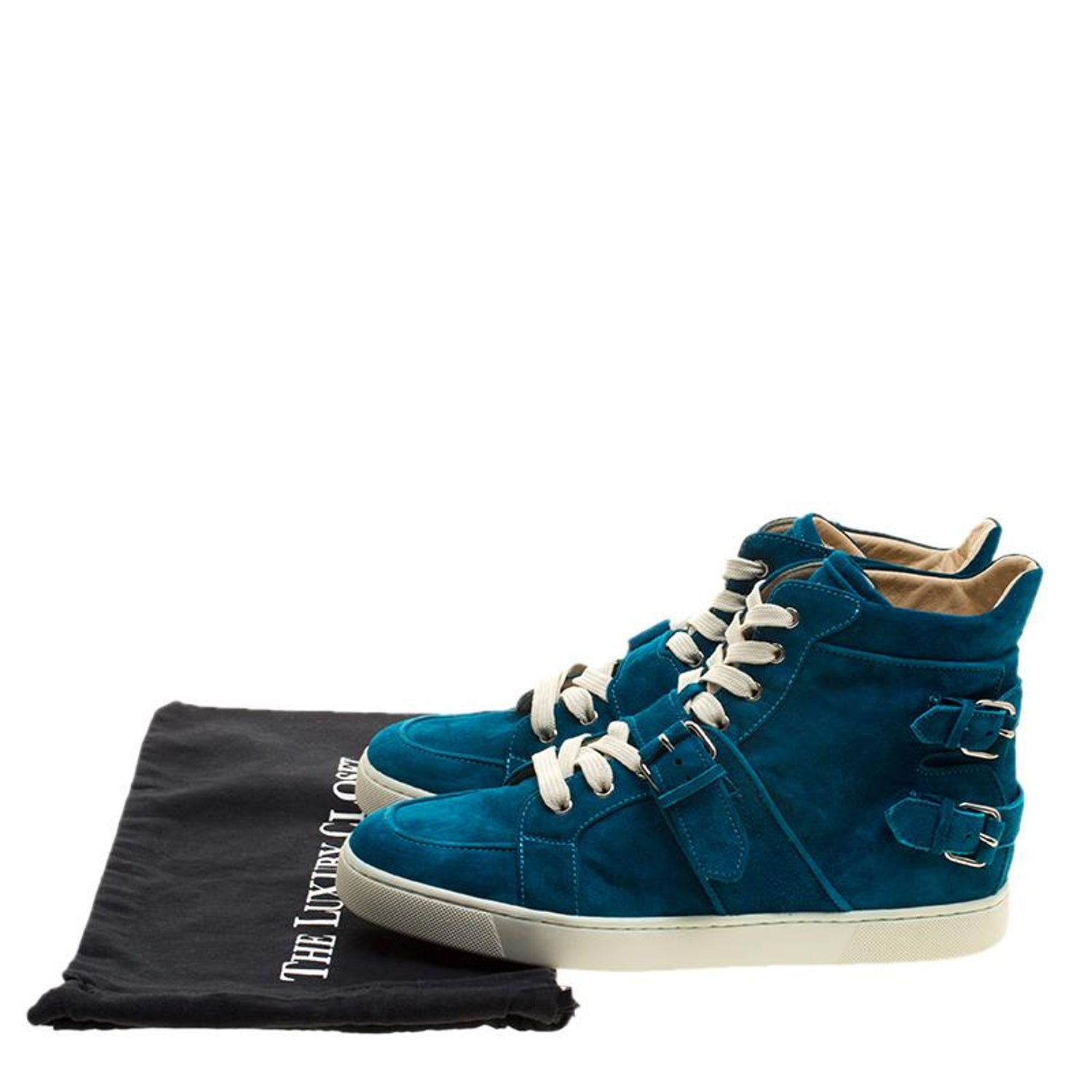 4a67202b19d Christian Louboutin Blue Suede High Top Sneakers Size 45