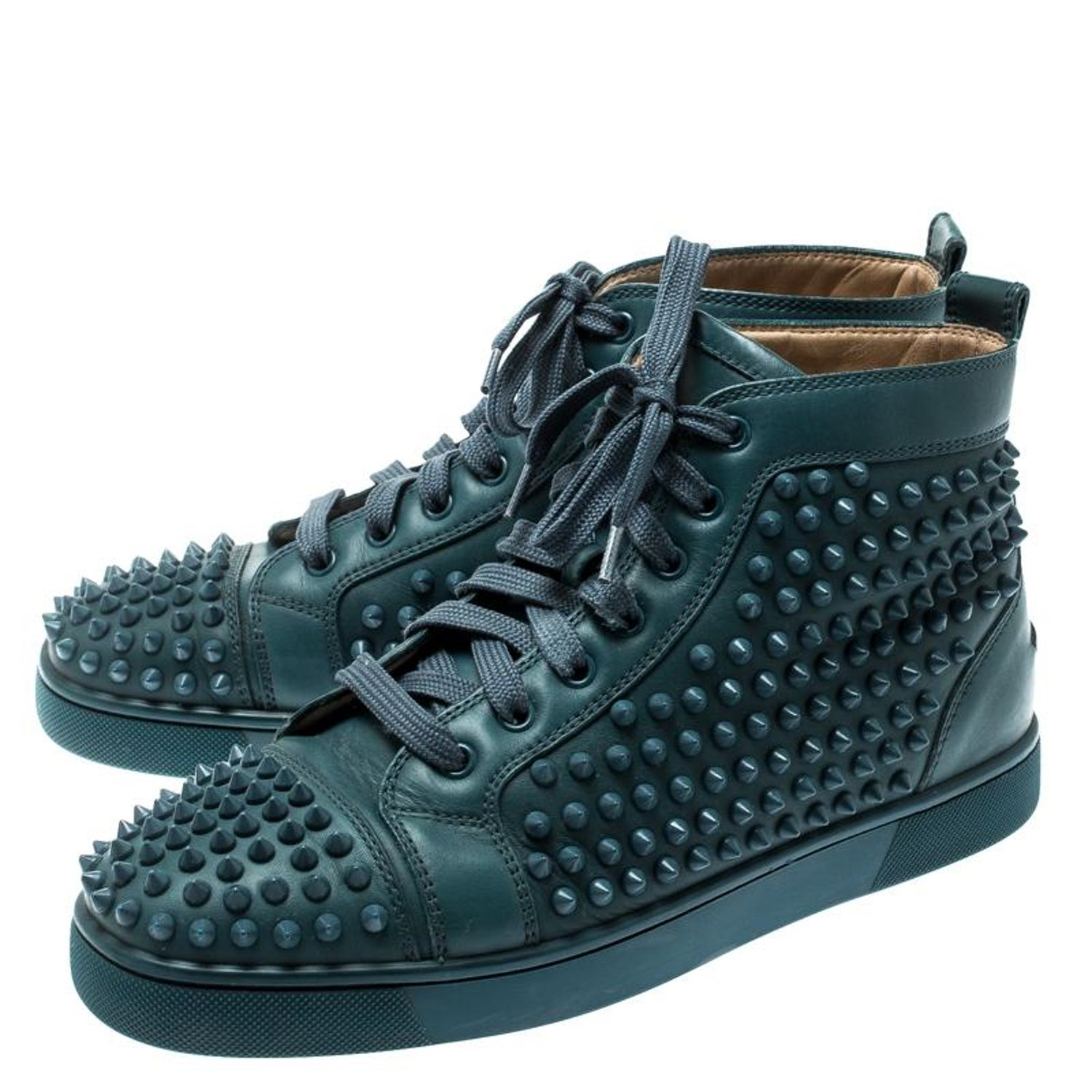 on sale cf77c 35fb1 Christian Louboutin Blue Suede Louis Spike High Top Sneakers Size 41