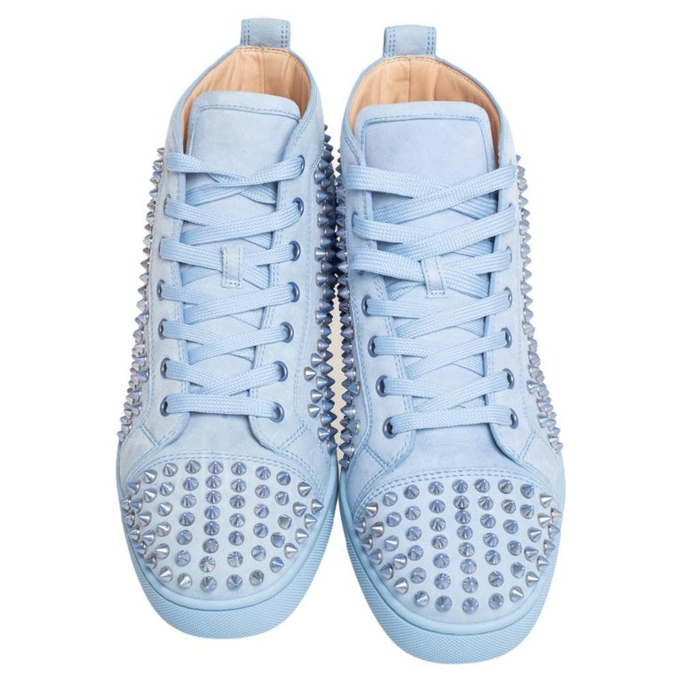 Christian Louboutin Blue Suede Louis Spikes High Top Sneakers Size 41 In Excellent Condition In Dubai, Al Qouz 2