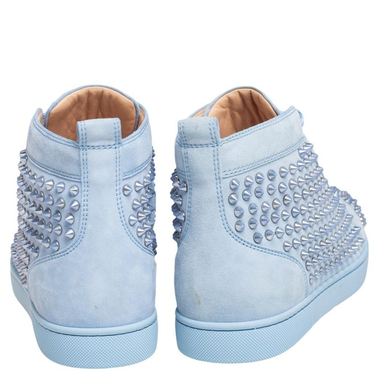 Men's Christian Louboutin Blue Suede Louis Spikes High Top Sneakers Size 41