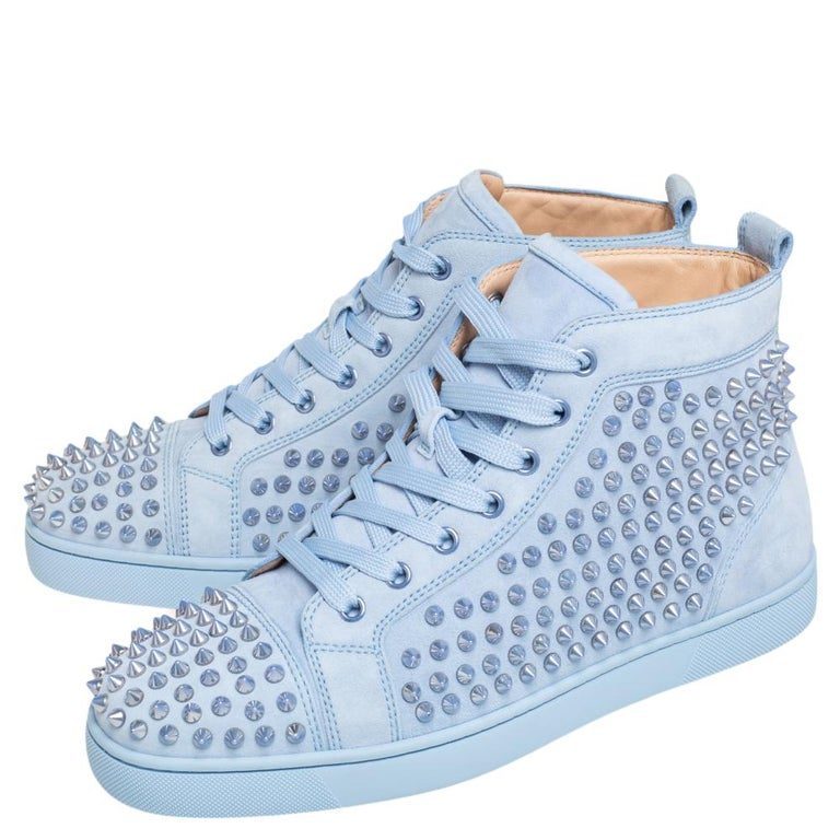 Christian Louboutin Blue Suede Louis Spikes High Top Sneakers Size 41 1