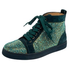 Christian Louboutin Blue Suede Louis Strass High Top Sneakers Size 37