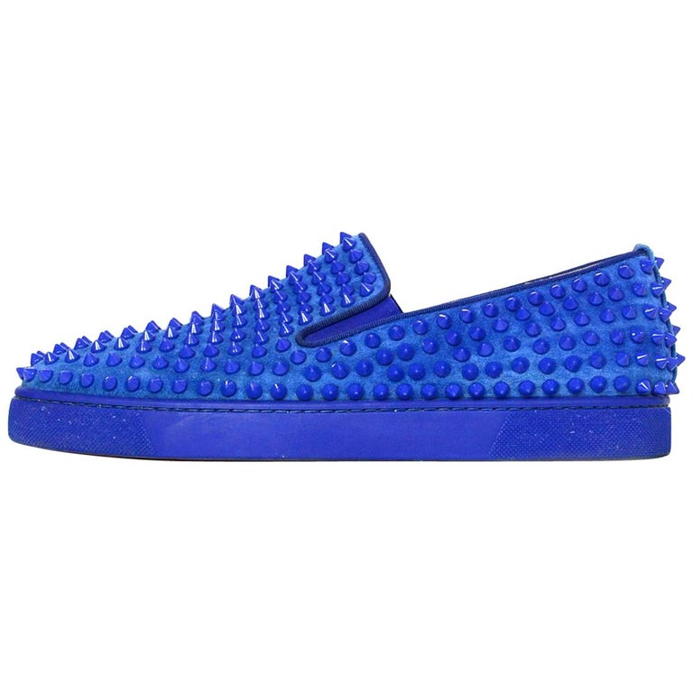 wholesale dealer a51a2 7ef13 Christian Louboutin Blue Suede Roller Boat Spiked Slip-On Sneakers Sz 41
