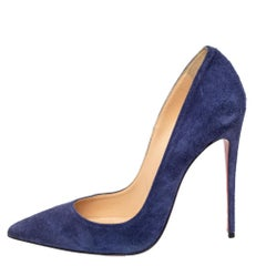 Christian Louboutin Blue Suede So Kate Pointed Toe Pumps Size 40