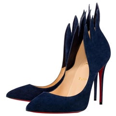 Christian Louboutin Blue Suede Victorina 100 16cle0104 Sandals