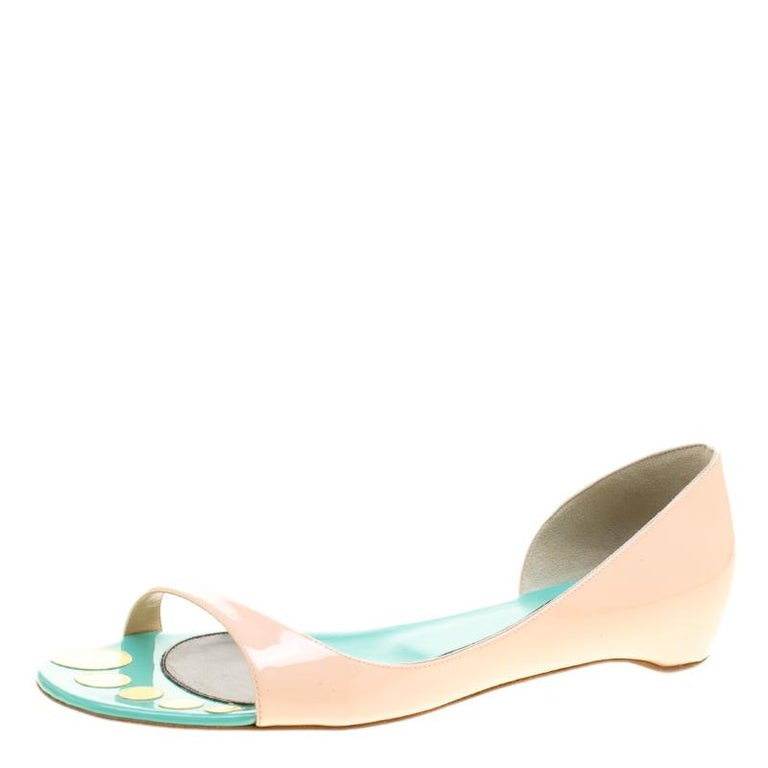 99b431f1460a Christian Louboutin Blush Pink Patent Leather Toboggan Flat D orsay Sandals  For Sale