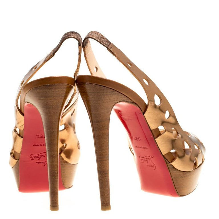 Brown Christian Louboutin Bronze Leather Ginza Platform Slingback Sandals Size 39.5 For Sale
