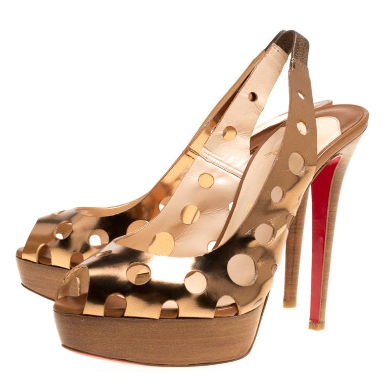Women's Christian Louboutin Bronze Leather Ginza Platform Slingback Sandals Size 39.5 For Sale