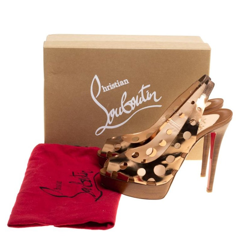 Christian Louboutin Bronze Leather Ginza Platform Slingback Sandals Size 39.5 For Sale 3