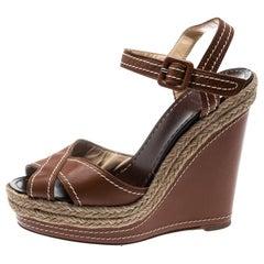 Christian Louboutin Brown Almeria Cross Espadrille Wedge Sandals Sandals Size 36