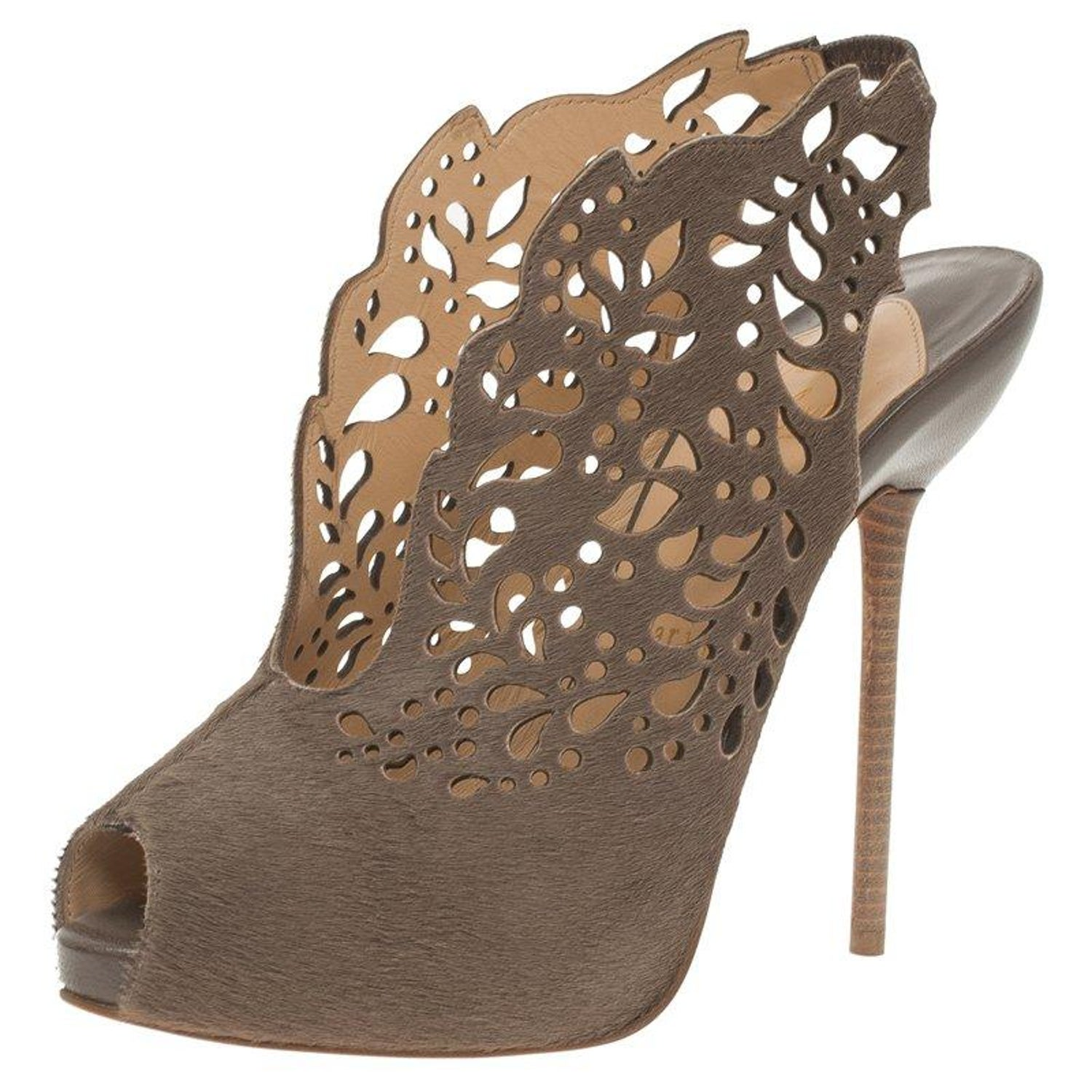 72bf14a8b143 Christian Louboutin Brown Calf Hair-On Markesling Slingback Sandals Size  37.5 For Sale at 1stdibs