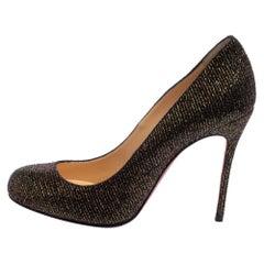 Christian Louboutin Brown Glitter Fabric Fifi Pumps Size 36