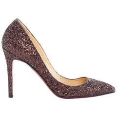 CHRISTIAN LOUBOUTIN brown glitter point toe pigalle pump heels EU37