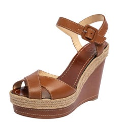 Christian Louboutin Brown Leather Almeria Wedge Sandals Size 38