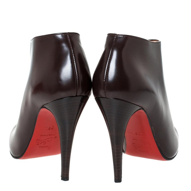 Women's Christian Louboutin Brown Leather Ankle Booties Size 38 For Sale