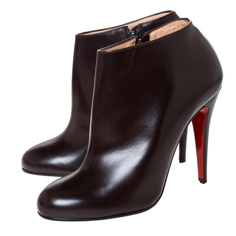 Christian Louboutin Brown Leather Ankle Booties Size 38 For Sale 1