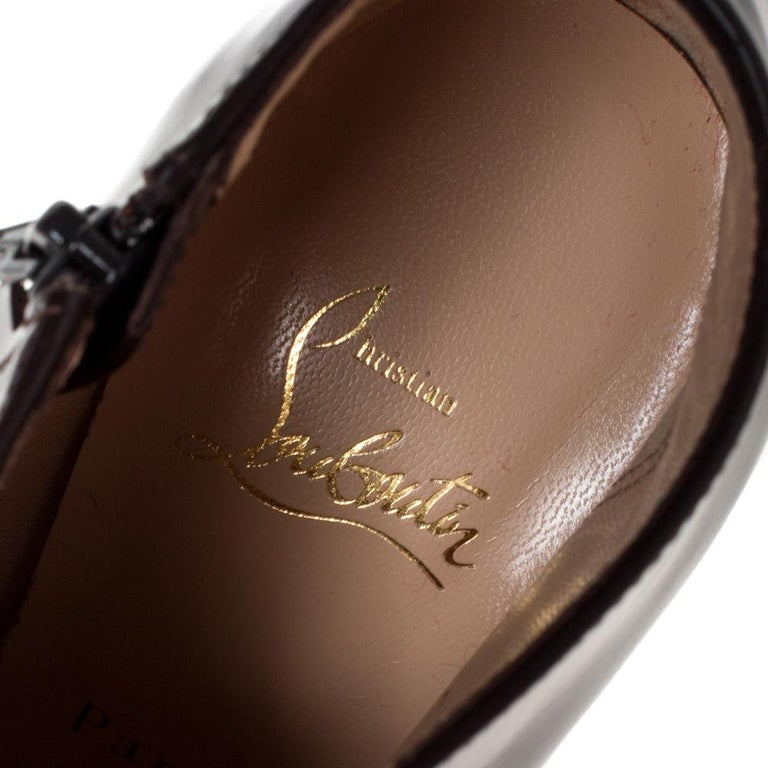 Christian Louboutin Brown Leather Ankle Booties Size 38 For Sale 2