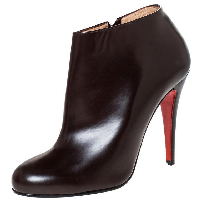 Christian Louboutin Brown Leather Ankle Booties Size 38 For Sale