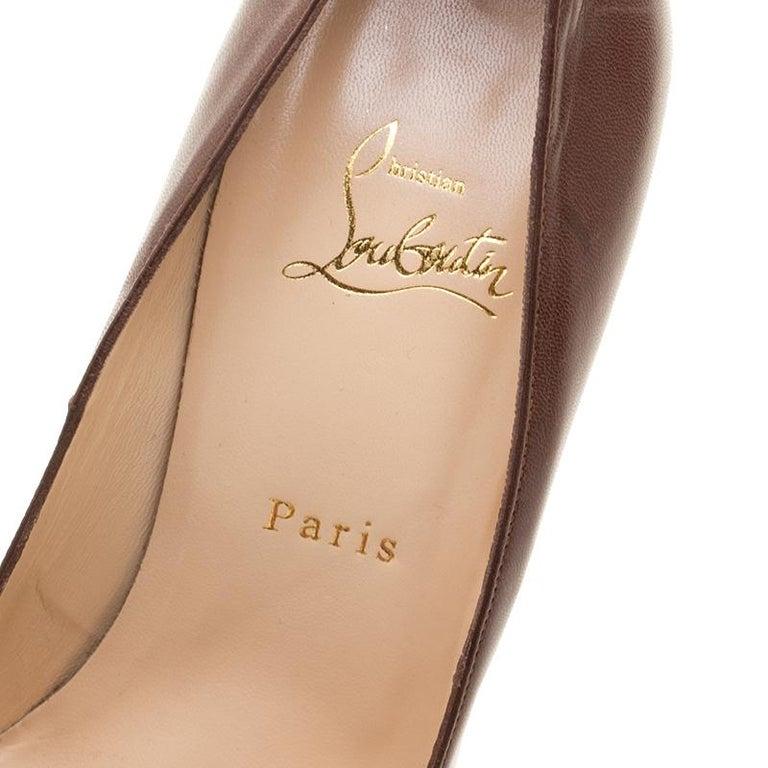 Christian Louboutin Brown Leather Bianca Platform Pumps Size 38.5 For Sale 3