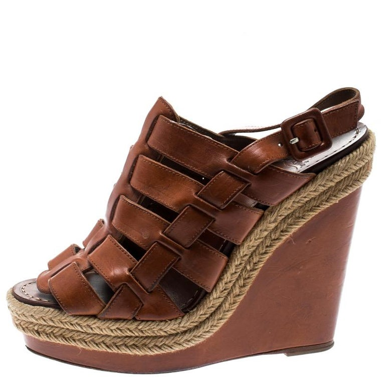 e0c0f077c87 Christian Louboutin Brown Leather Caged Espadrille Wedge Sandals Size 37