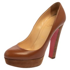 Christian Louboutin Brown Leather Grapi Block Heel Pumps Size 38.5