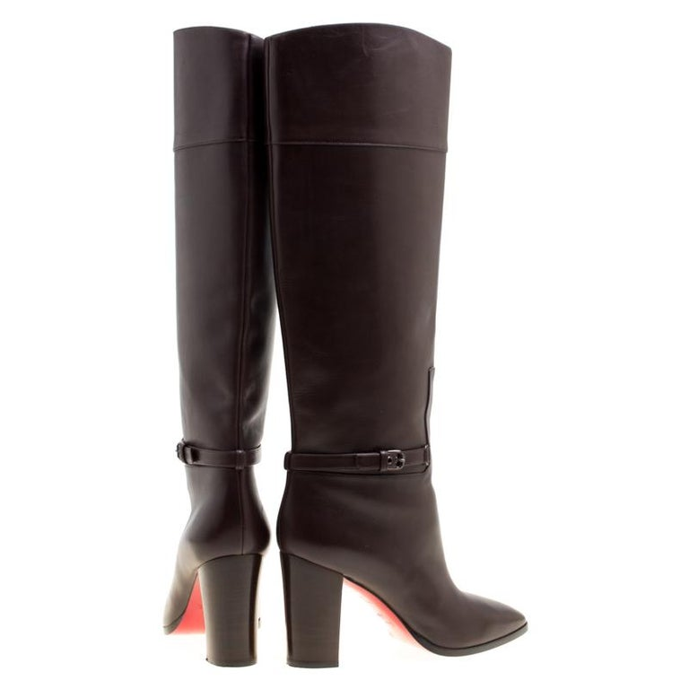 Black Christian Louboutin Brown Leather Mervillon Knee Boots Size 38 For Sale