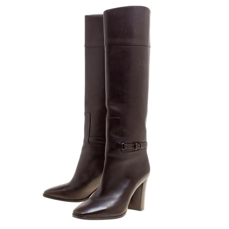Women's Christian Louboutin Brown Leather Mervillon Knee Boots Size 38 For Sale