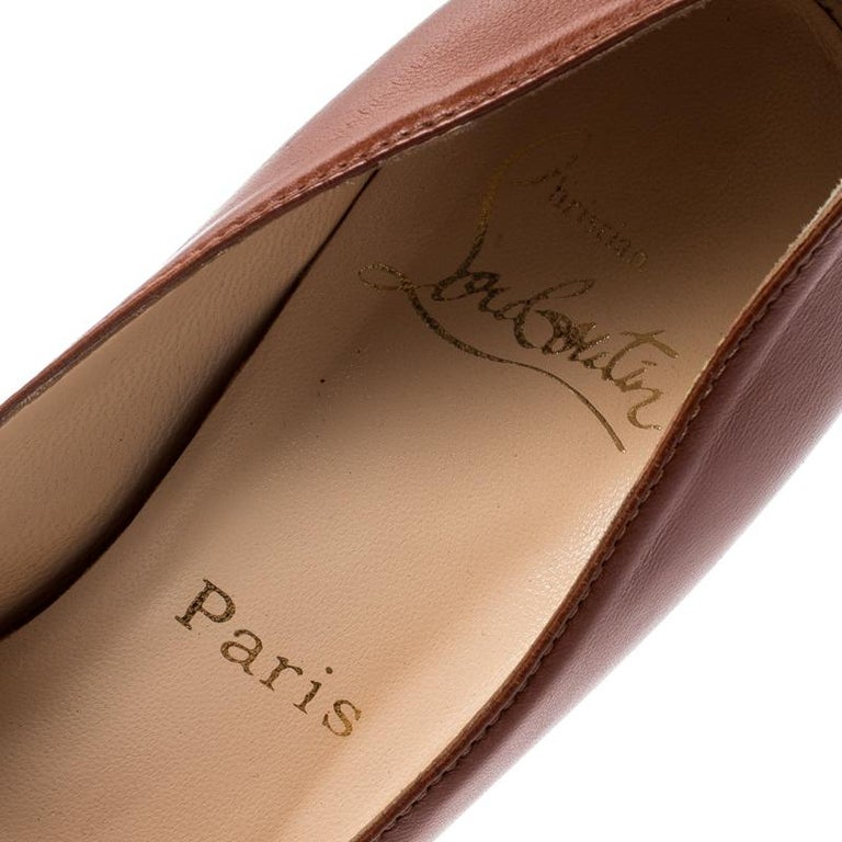 Christian Louboutin Brown Leather Platform Pumps Size 36.5 For Sale 2