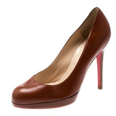 Christian Louboutin Brown Leather Platform Pumps Size 36.5