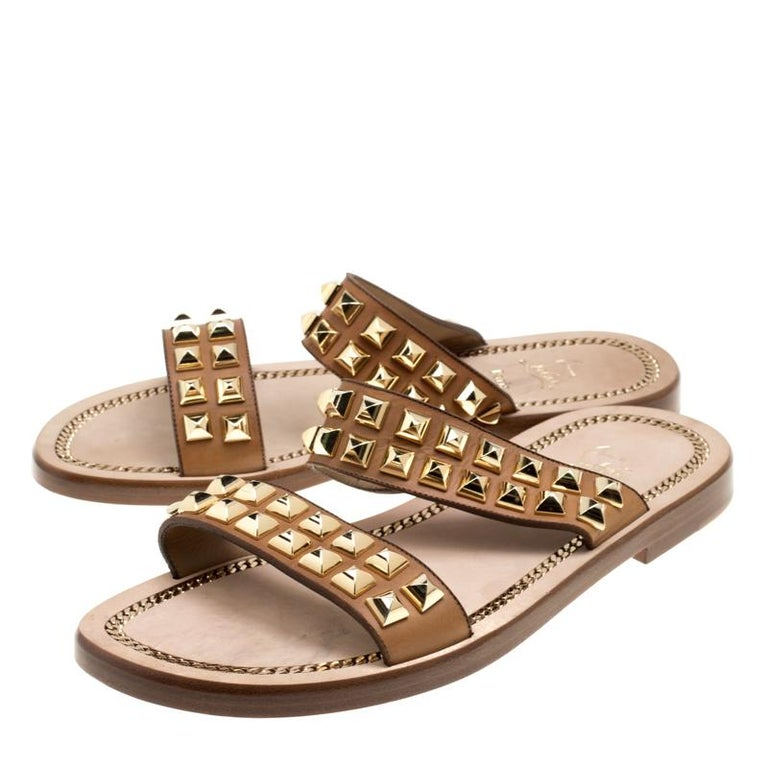 quality design 01101 0a3cf Christian Louboutin Brown Leather Studded Flat Sandals Size 42