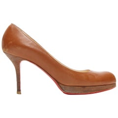 CHRISTIAN LOUBOUTIN brown leather wooden platform almond round toe pump EU37