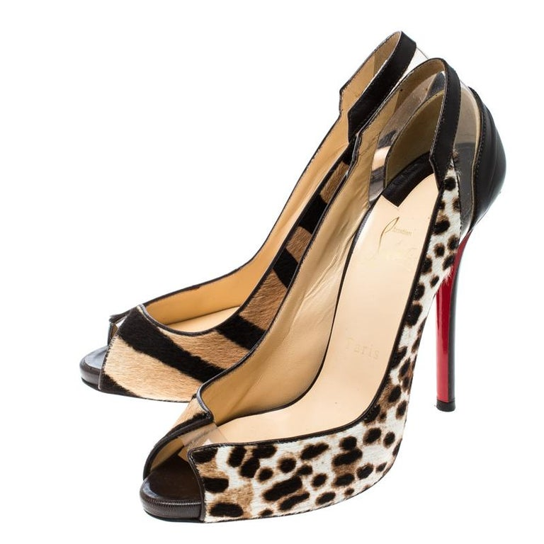 Christian Louboutin Brown Leopard Print Pony Hair and Leather Technicatina  In Good Condition For Sale In Dubai, AE