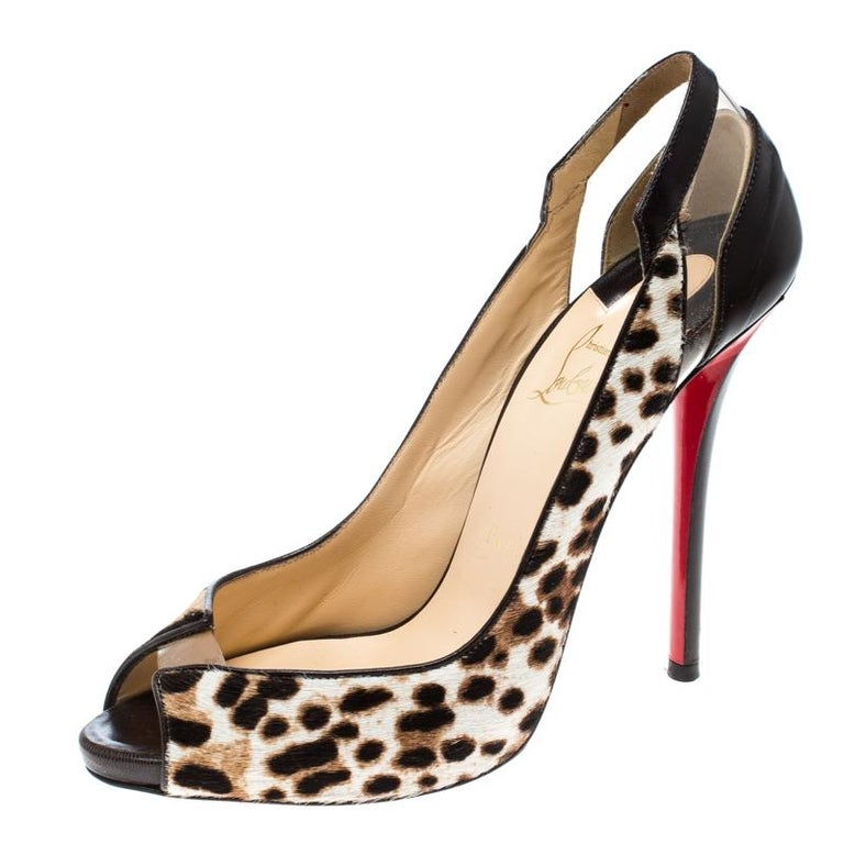 Christian Louboutin Brown Leopard Print Pony Hair and Leather Technicatina  For Sale