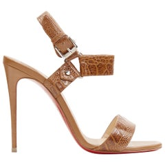 CHRISTIAN LOUBOUTIN brown stamped mock croc ankle buckle sandals EU37