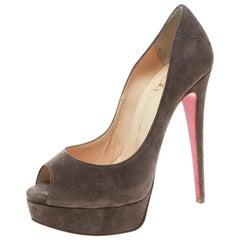 Christian Louboutin Brown Suede Lady Peep Toe Platform Pumps Size 36