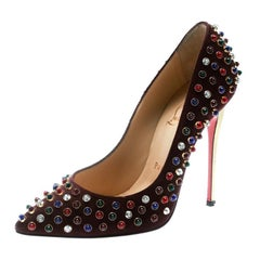 Christian Louboutin Brown Suede Pigalle Multicolor Pointed Toe Pumps Size 36.5