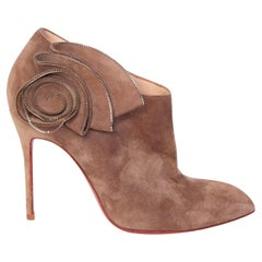 Christian Louboutin Brown Sueded Booties with Zip Flower (36 EU)