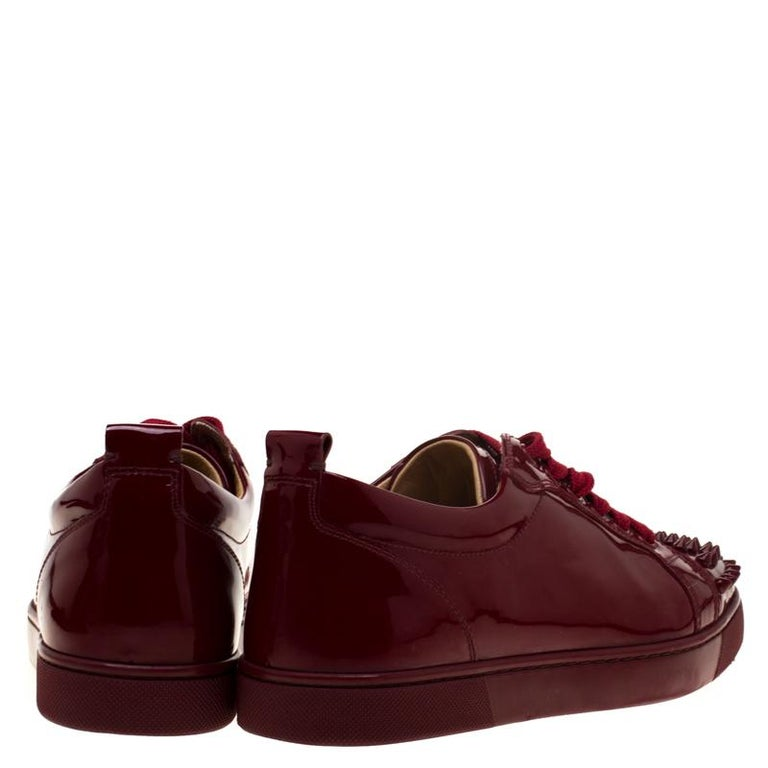 cheap for discount f0444 42a91 Christian Louboutin Burgundy Patent Leather Louis Junior Spikes Sneakers  Size 38