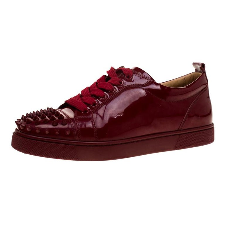 cheap for discount f3cba 4a09d Christian Louboutin Burgundy Patent Leather Louis Junior Spikes Sneakers  Size 38