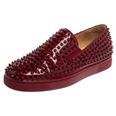 Christian Louboutin Burgundy Patent Leather Roller Boat Slip On Sneakers Size 40