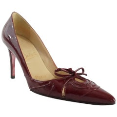 Christian Louboutin Burgundy Patent Pumps with Bow - 35.5