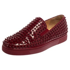 Christian Louboutin Burgundy Roller Boat Spiked Slip On Sneakers Size 40