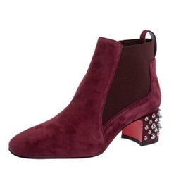 Christian Louboutin Burgundy Suede Study Block Heel Ankle Boots Size 37.5