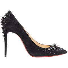 CHRISTIAN LOUBOUTIN Candidate 100 black suede pearl strass pointy pump EU37.5